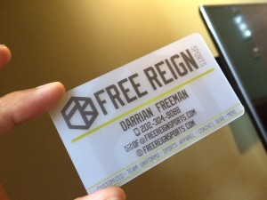 Free Reign Sports -- the business card.